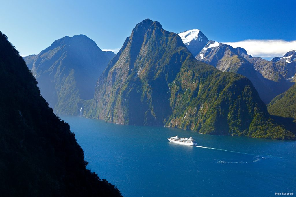 Cruise ship in Milford Sound, Fiordland National Park, New Zeala